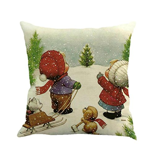 novelty fun christmas festival cotton linen pillow case cushion cover decor home sofa bed pillowcase Hirolan snowman xmas tree decorations wedding birthday ornament decorations fantastic gift idea  E