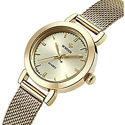 wwoor Frauen 'S Ultra dünnes Mesh-Band Edelstahl Damen Elite Sport Armbanduhr Gold