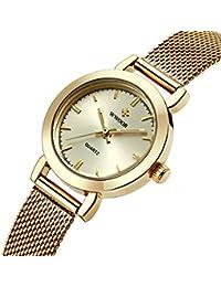 WWOOR - Reloj de pulsera de mujer con correa ultra fina de acero inoxidable para deportes (incluye indicador de fecha) color dorado