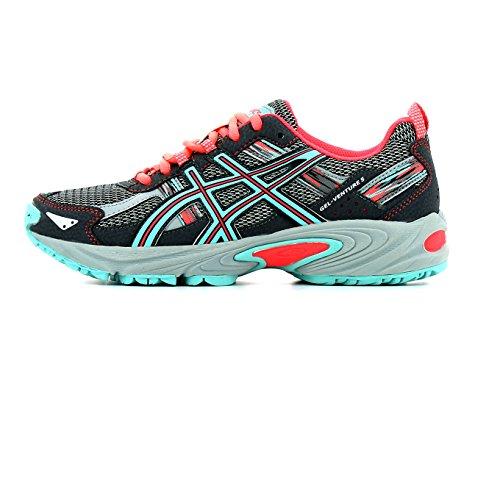 Asics Gel-Venture 5 Gs, Chaussures de Tennis Mixte Enfant, Noir gris carbone/bleu turquoise/rose flash