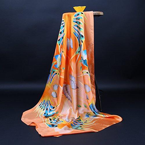 Prettystern - peint à la main foulard de soie 110cm pastels fleur motif peinture chinoise TSH15 Multicolore