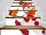 XXBFDT 3D Carreaux Autocollants DIYTraditionnel Escalier - Autocollants Noël de Nouveaux escaliers Bonhomme de Neige Noël Stickers marches décoratifs Stickers Stickers muraux Autocollants
