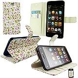 Emartbuy® Amazon Fire Phone Brieftaschen Wallet Etui Hülle Case Cover aus PU Leder Floral Rosa / Grün mit Kreditkartenfächern