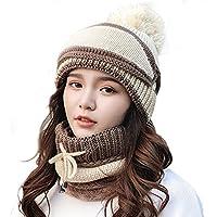 China Show Mujer Mode Gris Rayas Invierno Gorro Gorro para Forro Polar Juego Beige (Sombrero + Máscara + Bufanda)