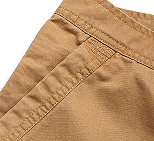 Feoya - All'Aperto Casuale Pantaloni Lunghi Tasche Multiple Uomo Pantaloni di Uniforme Stile Cargo Tinta Unita Kahki