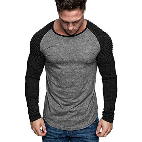 Yazidan Oversize Biker-Style Doppel Farbig Herren Longsleeve Vintage Sweatshirt Crew-Neck Basic O-Ausschnitt Shirt