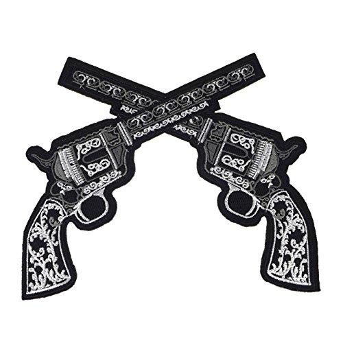 """TheStyleAssistant """"NEGRONI"""" Gekreuzte Pistolen (20X17cm), Aufnäher Patch Revolver Pistole Colt Waffe Knarre Applikation Bügelbild, SUNSET EDITION (Wild Bilder West Kostüm)"""