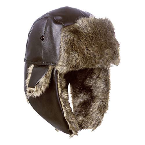 NONMON Unisex Russische Wintermütze mit Ohrenklappen Fliegermütze Sportmütze Outdoor Warme Ushanka Trappermütze für Herren Damen