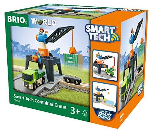 Brio World Grue DE Chargement DE CONTENEURS Smart Tech, 33962, Bleu, Orange E Gris