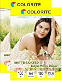 Colorite Matte Coated Inkjet Paper 130 Gsm A4 x 2 Packs (Total 200 Sheets)