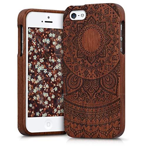 kwmobile Apple iPhone SE / 5 / 5S Hülle - Handy Schutzhülle aus Holz - Cover Case Handyhülle für Apple iPhone SE / 5 / 5S (Iphone Case 5s Holz Aus)