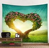 Tapisserie Forêt Tenture Fleur Arbre Coeur Cœur Forêt Bohémienne Tenture Hippie Tapisserie Mur Tapis En Tissu Jeter Une Couverture 230X150Cm