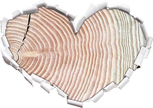 Mighty tronco d'albero con gli anelli annuali a forma di cuore in formato sguardo, parete o adesivo porta 3D: 92x64.5cm, autoadesivi della parete, decalcomanie della parete, Wanddekoratio