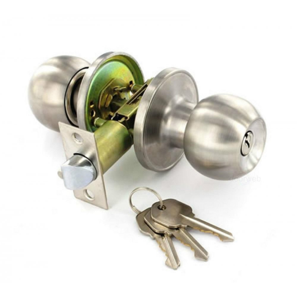 Satin Stainless Steel Door Knob Set Entrance Key Locking