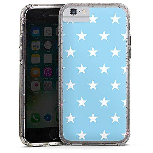 Apple iPhone 6 Bumper Hülle Bumper Case Glitzer Hülle Sternchen Babyblau Stars Bumper Case Glitzer rose gold