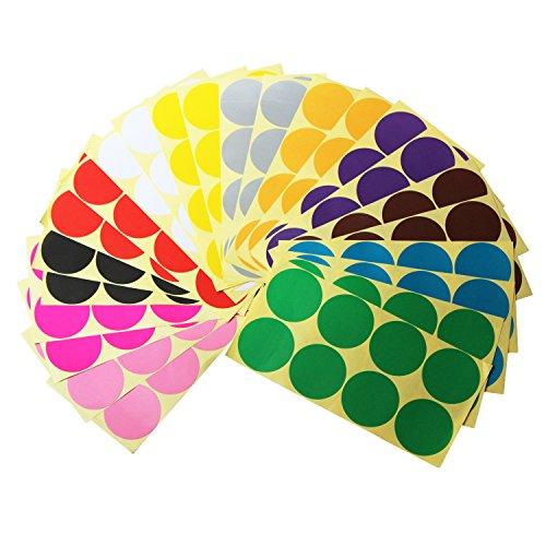 LJY 50mm Runde Dot Aufkleber Farbcodierung Etiketten, 12 verschiedene verschiedene Farben, 24 Blätter, 192 Punkte