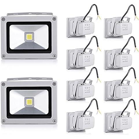 Pack of 10,10W IP65 LED resistente al agua al aire libre del punto del reflector- Blanco frío (10 piezas)