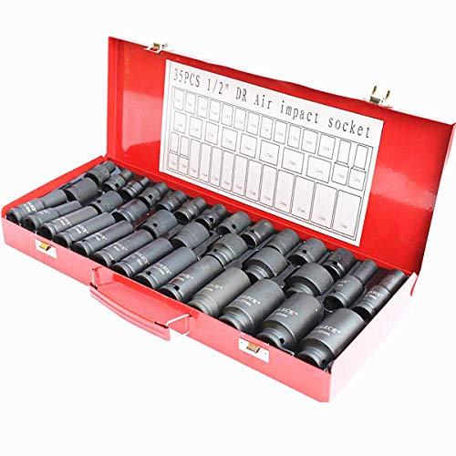 ybaymy 35PCS 1/5,1cm Antrieb DEEP IMPACT SOCKET Werkzeug Set, 8-32mm DR Air Metrisches Garage Werkstatt -