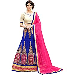 Siddeshwary Fab Women's Blue And Pink Net Embroidery Lehenga Choli For Women ( Blue )