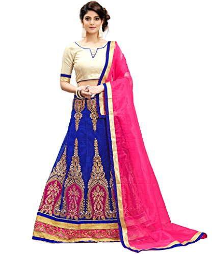 Siddeshwary Fab Women's Blue And Pink Net Embroidery Lehenga Choli For Women...