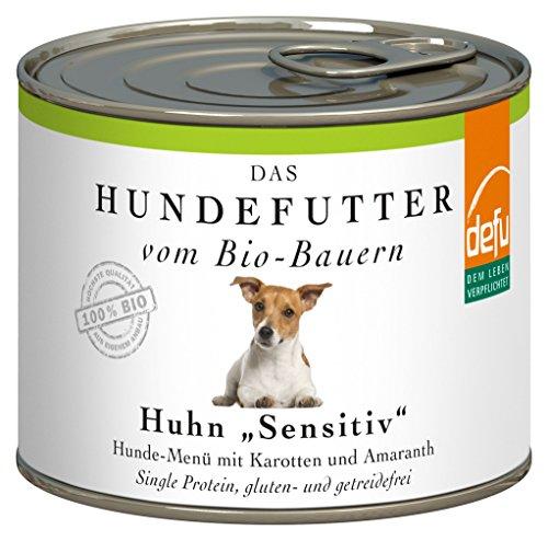 defu Bio Nassfutter für Hunde Huhn 200 g Gluten und Getreidefrei, 12er Pack (12 x 200 g)