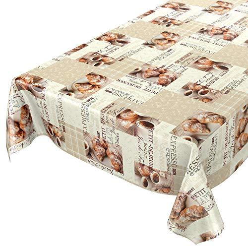 ANRO Wachstuchtischdecke Wachstuch Wachstischdecke Tischdecke abwaschbar Kaffee Croissant Beige 100 x 140cm