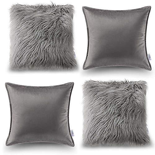 Oreiller Quatre Pièces En Coton De Couleur Unie Housse De Coussin De Canapé Salon Peluche Velvet Core Oreiller (Couleur : Gray, taille : 50 * 50cm)