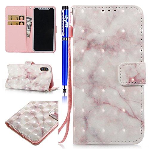 EUWLY Leder Schutzhülle für [iPhone X], Luxus Schön 3D Shiny Hülle Leder Tasche Wallet Hülle Schutz Handyhülle für iPhone X, iPhone X Marmor Linien Hülle Glänzend Glitzer Kristall Bunt Gemalt Tasche