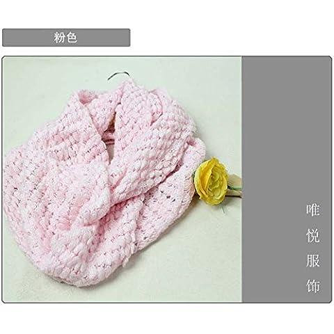 MEICHEN-días de otoño e invierno de lana tejida de maíz bib abarca los dos primeros anillo bufanda mujer, Rosa