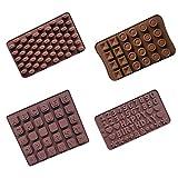 IWILCS 4 Pezzi Stampi per Cioccolato in Silicone, Stampo per Dolci a Cuore, Stampo in Silicone per Fiori al Cioccolato, Bar per Decorare Cubetti di Ghiaccio Stampo per Dolci da Forno