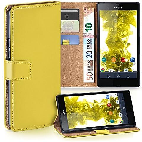 Sony Xperia Z Hülle Gelb mit Kartenfach [OneFlow Wallet Cover] Handytasche Flip-Case Handyhülle Etui Kunst-Leder Tasche für Sony Xperia Z Case Book Schutzhülle