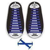 Di Ficchiano SL-DF-Silikon-Blue Premuim No Tie Shoelaces für Kinder und Erwachsene/Flache elastische Schnürsenkel für Sneaker, Sport- und Freizeitschuhe