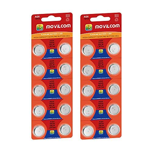 20x Knopfzelle AG5 Batterien 1,5 V ersetzt LR754, LR753, SR754W, V393, 393, D393, S754E, 255, F, SB-B3, SR48