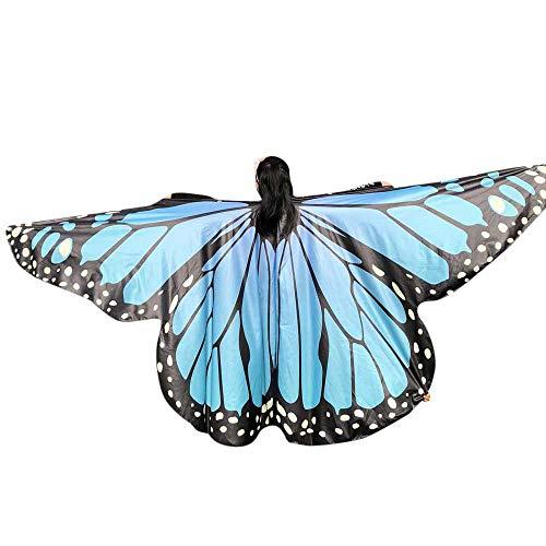WOZOW Damen Schmetterling Schmetterlingsflügel Kostüm Karneval Fasching Faschingkostüme Poncho Schal Tuch Umhang für Party Cosplay (Himmelblau)