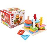 Emob Wooden Blocks Geometric Shape Matching Four Sets Of Column Learning Education Puzzle Game Toy For Kids