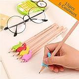 Lot de 15 Manchons ergonomiques pour crayons, feutres ou stylos//5 couleurs//Patins poignées souples en forme de poisson//Aide les enfants à bien tenir un crayon//crayon Grips 15pcs