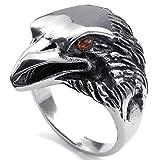 Aooaz Incisione Gratuita Anello Per Gli Uomini Eagle Black Silver 25MM Dimensione 30 Promessa Nuziale Novità