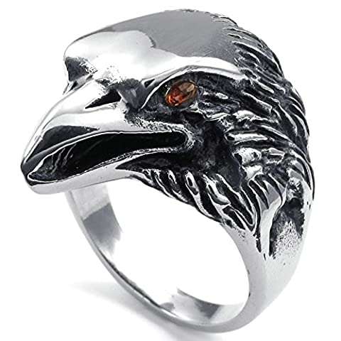 Aooaz Free Engraving Ring for Men Eagle Black Silver 25MM Size N 1/2 Wedding Promise Novelty