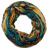 styleBREAKER Loop Schlauchschal in maritimen Muschelmuster, Crash and Crinkle, Tuch 01018023, Farbe:Gelb-Blau