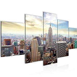 Runa Art Bilder New York City Wandbild 200 x 100 cm Vlies - Leinwand Bild XXL Format Wandbilder Wohnzimmer Wohnung Deko Kunstdrucke Blau 5 Teilig - Made IN Germany - Fertig zum Aufhängen 603451b