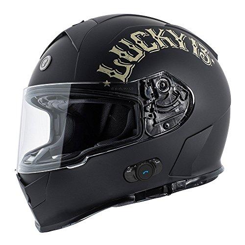 TORC T14B Blinc - Casco de moto integrado, Bluetooth, con gráfico, cabeza plana, color negro, talla XL