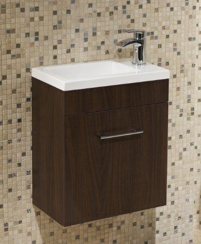 Walnut Square Basin Wall Hung Bathroom Furniture Cloakroom Compact Vanity Unit 400 X 250