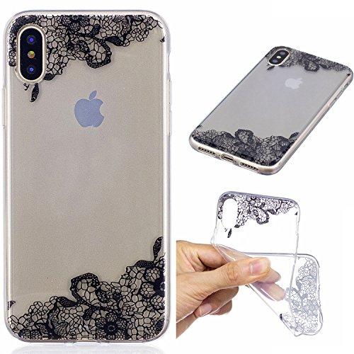 iPhone X Hülle, Voguecase Silikon Schutzhülle / Case / Cover / Hülle / TPU Gel Skin für Apple iphone X(Mädchen im bunten Kleid) + Gratis Universal Eingabestift Schwarz Lace Blume
