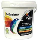 RyFo Colors Seidenlatex 1l - hochwertige Profi-Wand-Farbe, seidenmatte Innen-Dispersion, Latexfarbe, weiß, scheuerbeständig, geruchsarm, lösemittelfrei, zertifiziert