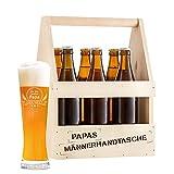 Flaschenträger und Weizenglas (Motiv 3) mit Gravur für Papa – 2er Set – Standard – Träger aus Holz für 6 Flaschen als Männerhandtasche – Graviertes Weizenbierglas – Vatertagsgeschenk