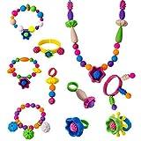WISHTIME Kinder Snap Perlen Pop Arty HS6634 DIY Schmuck Kit für Halskette und Armband für Mädchen Kunst Handwerk Geschenk Spielzeug 85 Stücke sortierte Form Fun Schmuck