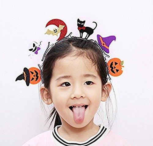 6PCS Mädchen Halloween Haar Clips Haarspangen Haarband Halloween Fancy Kleid (Mädchen Hexe Hut Mit Schwarzen Haaren)