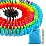 Domino 12 colori 240 costruzione di giocattoli di intelligenza edilizia giocattoli di legno naturale colorato per bambini regalo di compleanno per bambini insieme con strumenti di archiviazione classificati