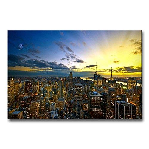 ür Home Decor NEW YORK in Sunup Gemälde Moderne Giclée-gespannt und gerahmt Artwork Öl der für Wohnzimmer Dekoration Stadt Bilder Foto Prints auf Leinwand (Das Empire Hotel New York Halloween)