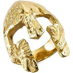 Anillo de mascara de guerrero MunkiMix en acero color oro cromado talla 17